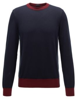 HUGO BOSS Regular Fit Sweater With Color Block Hemline - Dark Blue