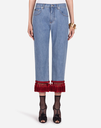 Dolce & Gabbana Boyfriend-Fit Jeans In Stretch Denim With Fringing