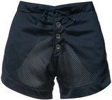 Greg Lauren perforated satin shorts