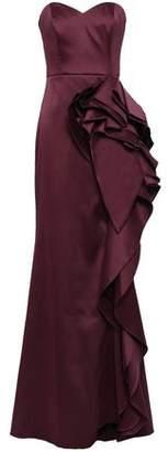 Badgley Mischka Strapless Ruffled Duchesse Satin-twill Gown