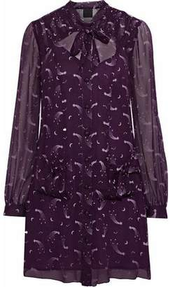 Anna Sui Pussy-bow Printed Chiffon Mini Shirt Dress