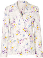Max Mara Double-breasted Floral-print Linen Blazer - White
