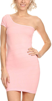Light Pink One-Shoulder Bandage Dress