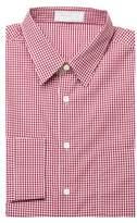 Prada Men's Gingham Pointed Collar Cotton Dress Shirt Burgundy
