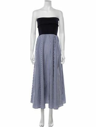ADEAM Plaid Print Long Dress w/ Tags Blue