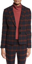 Derek Lam 10 Crosby Plaid Two-Button Blazer, Red/Midnight