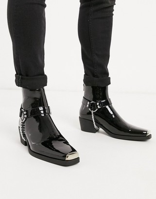 ASOS DESIGN stacked heel western chelsea boots in black faux leather hardware detail