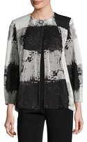 Misook Graphic Squares One-Button Jacket, Petite