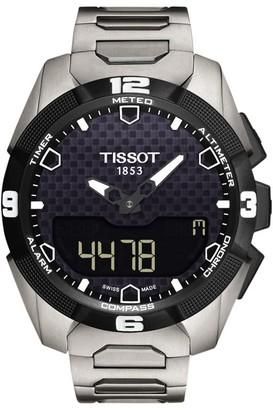 Tissot T0914204405100 Men's T-Touch Expert Solar Chronograph Altimeter Titanium Strap Watch, Silver/Black