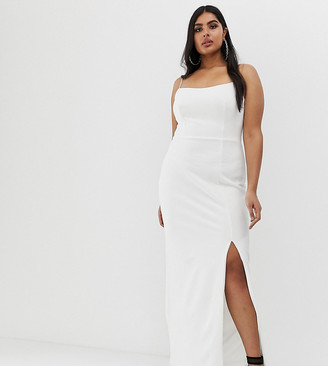 Club L London Plus square neck midaxi dress in white