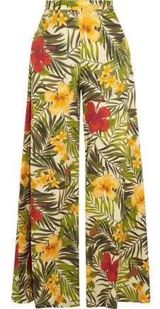 Miguelina Pamela Printed Cotton-Voile Wide-Leg Pants