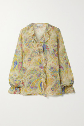 Etro Ruffled Printed Silk-crepon Blouse - Yellow