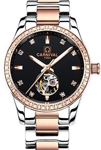Carnival カーニバルWomensスケルトン自動マシンローズゴールドステンレススチールサファイア防水ブラック時計