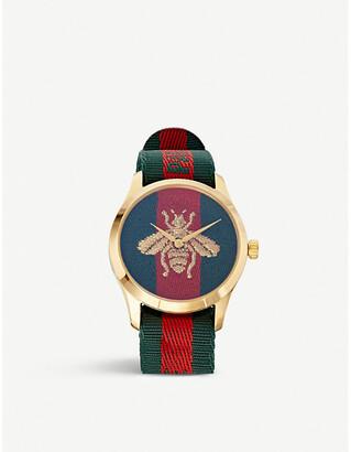 Gucci Women's Ya126487 Le Marche Des Merveilles Gold And Nylon Watch