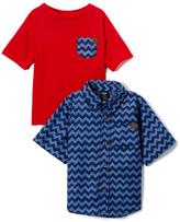 Red Pocket Tee & Blue Chevron Button-Up Set - Toddler & Boys