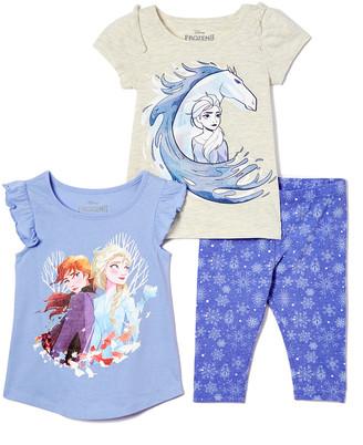 Children's Apparel Network Girls' Leggings BEIGE - Frozen 2 Beige Elsa & Horse Ruffle-Sleeve Tee Set - Girls