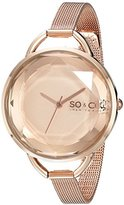 SO&CO New York Women's 5104.4 SoHo Quartz Rose Tone Dial with Faceted Glass and Stainless Steel 16K Rose Tone Mesh Bracelet Watch