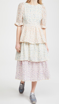 ENGLISH FACTORY Multi Color 3 Tier Ruffle Dress