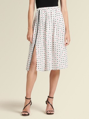 DKNY Donna Karan Women's Polka-dot Midi Skirt - White Combo - Size XS