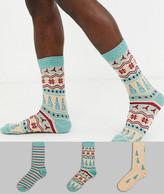 Asos Design DESIGN ankle sock with christmas fairisle print wih twist 3 pack