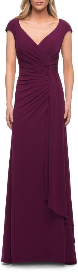 La Femme Ruched Jersey Sheath Gown