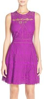 Adelyn Rae Women's Illusion Yoke Lace Fit & Flare Dress