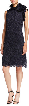 Rickie Freeman For Teri Jon Floral Lace Sleeveless Dress w/ Asymmetric Taffeta Neck Detail