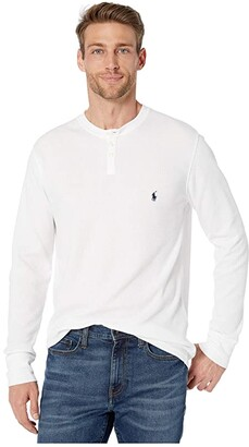 Polo Ralph Lauren Waffle Long Sleeve Henley (White/Cruise Navy Pony Print) Men's Pajama