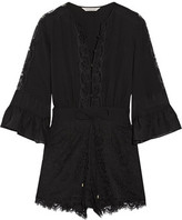 Rachel Zoe Rita Silk Chiffon-Timmed Crepe De Chine And Lace Playsuit