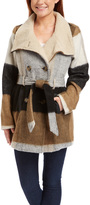 KC Collections Brown & Gray Belted Wool-Blend Peacoat - Plus Too