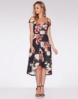 Quiz Floral Print Sweetheart Neck Dip Hem Dress