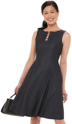Chaps Women's Hardware Accent Fit & Flare Dress