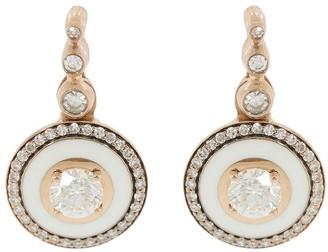 Selim Mouzannar 18kt Rose Gold Enamel And Diamond Drop Earrings