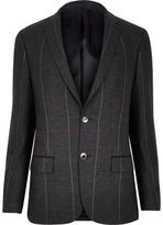 River Island Dark Green Check Skinny Suit Jacket