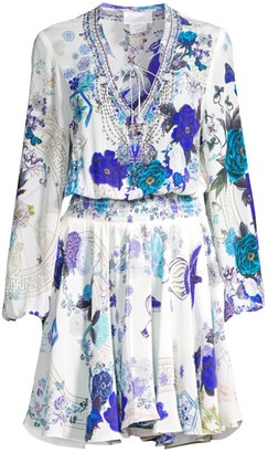 Camilla White Side of The Moon Embellished Silk Cover-Up