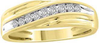 FINE JEWELRY Mens 1/4 CT. T.W. Genuine White Diamond 10K Gold Wedding Fashion Ring