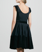 Halston Velveteen-Trim Dress