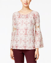 Style&Co. Style & Co. Lantern-Sleeve Lace-Trim Top, Only at Macy's