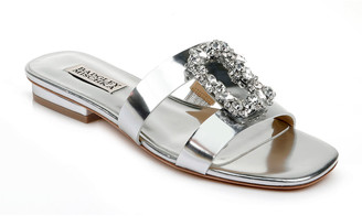 Badgley Mischka Josette Flat Metallic Slide Sandals