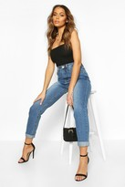 boohoo Hatty High Rise Mid Wash Boyfriend Jeans blue