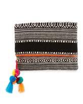 Ale By Alessandra Sergovia Embroidered Fold-Over Clutch, Orange/Black/White
