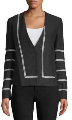 Derek Lam Collarless Lace Inset Jacket