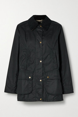 Barbour Fiddich Corduroy-trimmed Waxed-cotton Jacket - Black