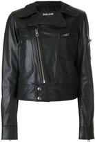 Just Cavalli fitted biker jacket - women - Goat Skin/Polyester - 42