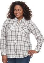 Croft & Barrow Plus Size Flannel Plaid Button-Down Shirt