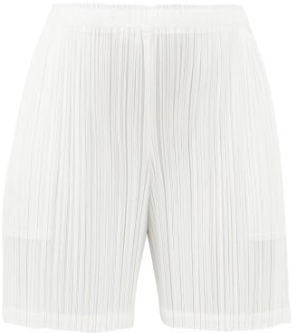 Pleats Please Issey Miyake Mid-cut Plisse Jersey Shorts - White