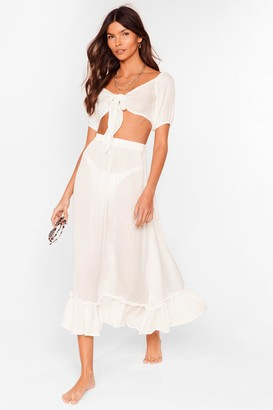 Nasty Gal Womens Summer Nights Tie Crop Top and Maxi Skirt Set - Cream