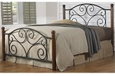 Doral Complete Bed with Metal Duo Panels and Dark Walnut Wood Posts, Matte Black Finish, Full