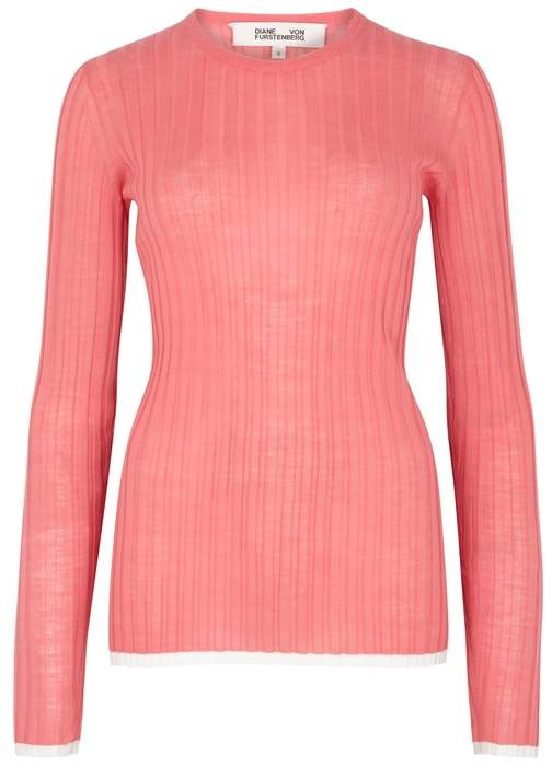Diane von Furstenberg Coral Ribbed Wool-blend Jumper