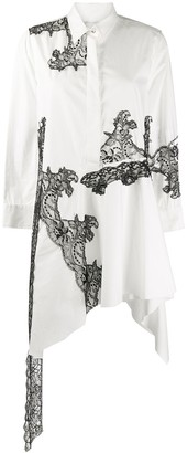 Marques Almeida Lace-Panelled Poplin Shirt